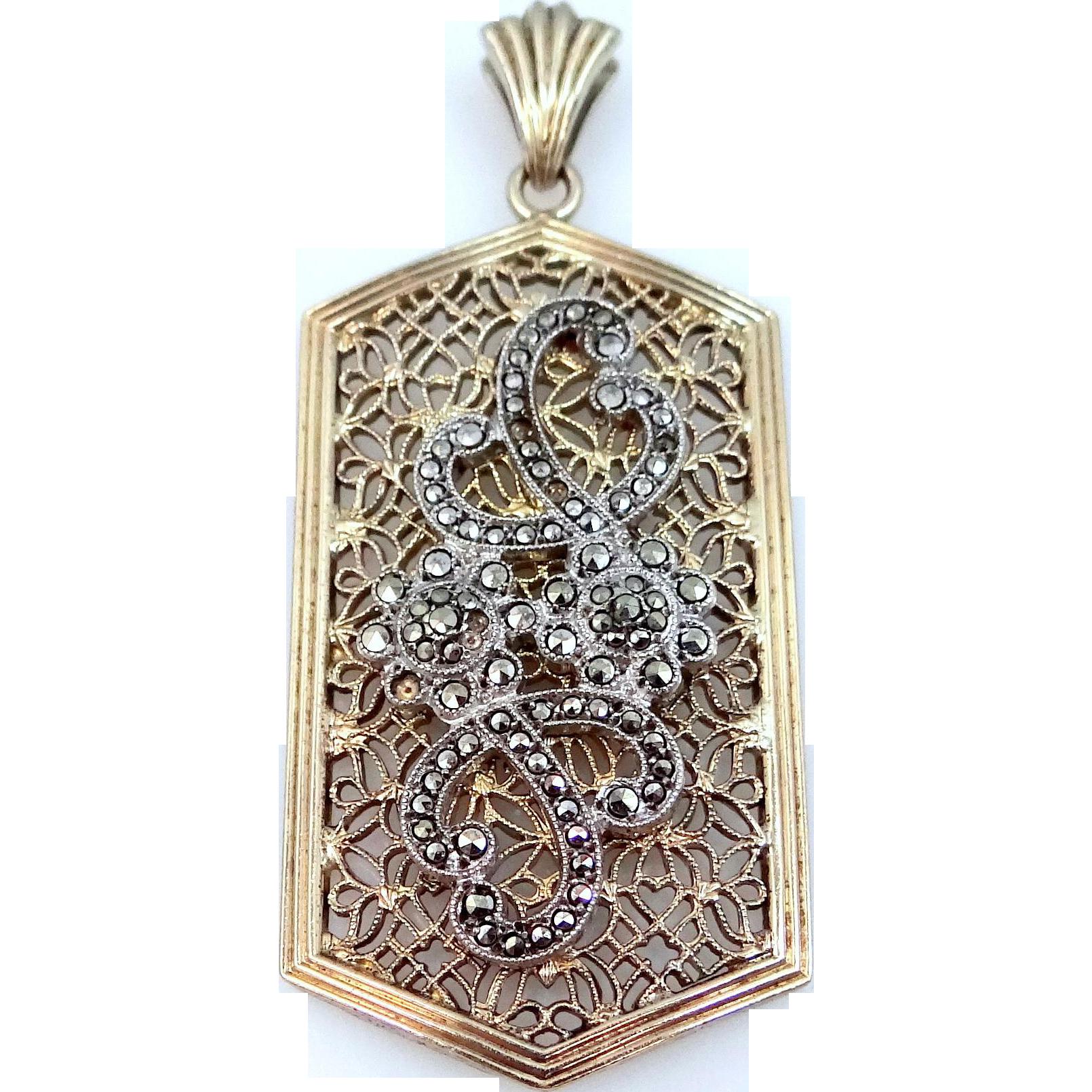 Symmetalic Sterling Silver and 12k Gold Marcasite Filigree Art Deco Pendant