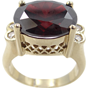 Sterling Vermeil Uncas Garnet Glass Filigree Ring