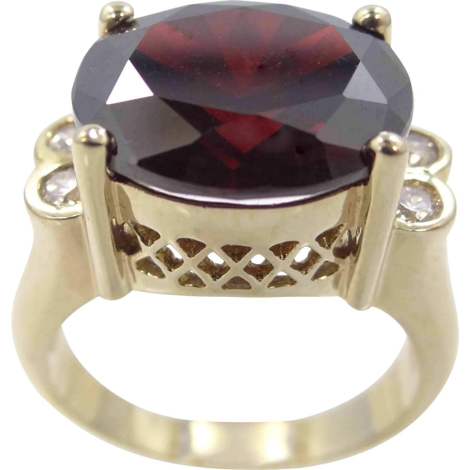 Sterling Vermeil Uncas Garnet Glass Filigree Ring