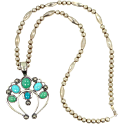 Sterling Silver Turquoise Carolyn Pollack Squash Blossom Necklace