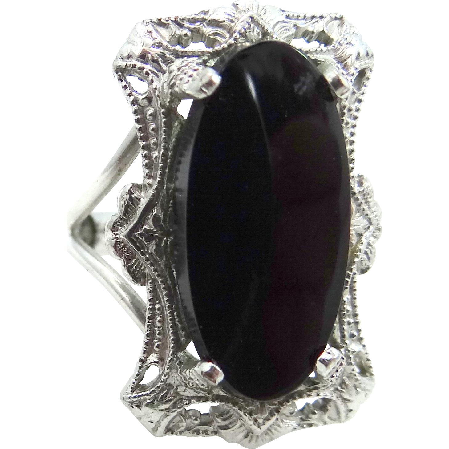 Burt Cassell White Gold Filled and Black Onyx Art Deco Style Ring
