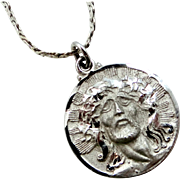 Theda Sterling Silver Diamond Cut Head of Christ Medal and Sterling Chain