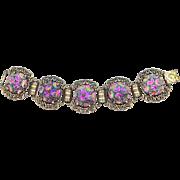 Judy Lee Art Glass Links Bracelet Carnival Glass