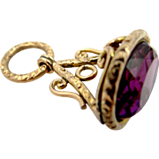 Victorian Gold Filled Amethyst Glass Fob, Charm or Pendant