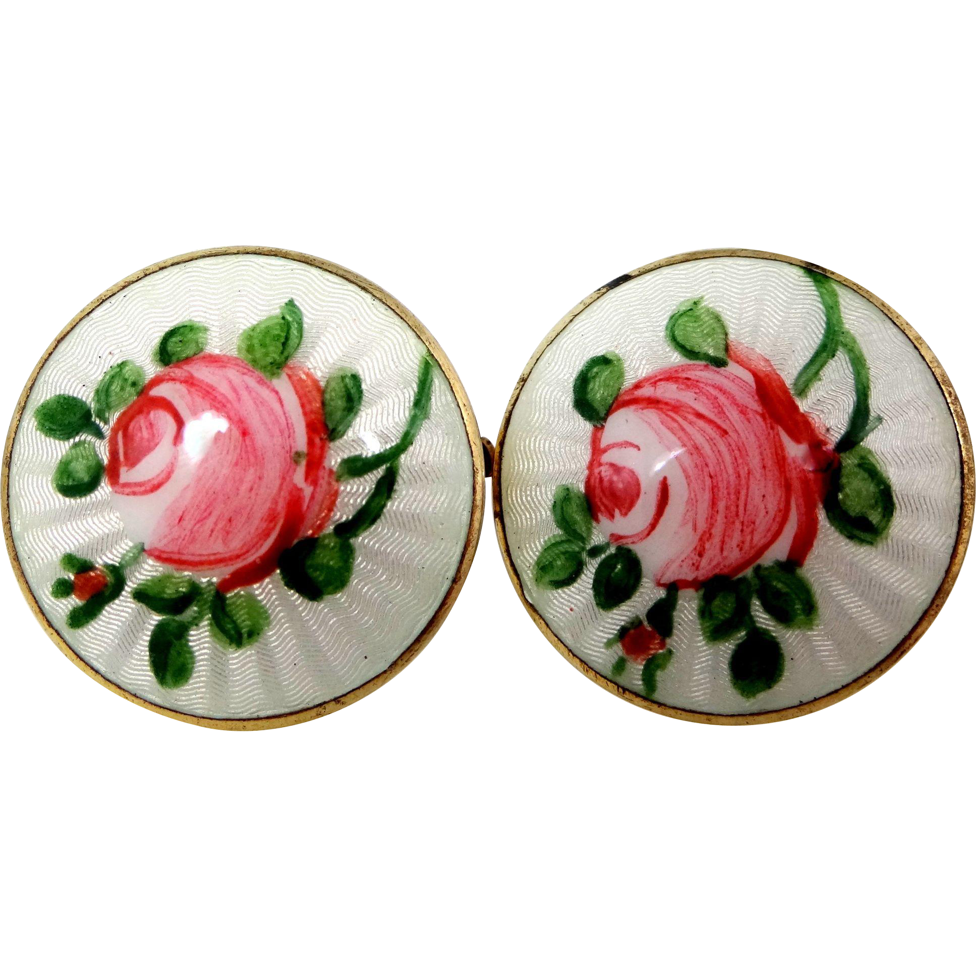 Mid Century Finn Jensen Sterling Silver and Enamel Clip on Roses Earrings
