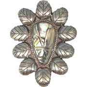 Vintage Mexico Sterling Silver and Abalone Signed Pin / Pendant