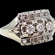 14k White Gold Genuine Diamonds Lady's Ring