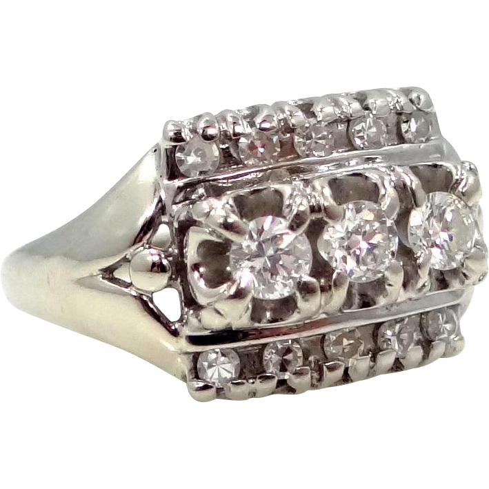 14k White Gold Genuine Diamonds Lady's Ring