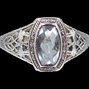 Art Deco Aquamarine 18k White Gold Filigree Ring