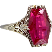 14k White Gold Filigree Ruby Ring Art Deco