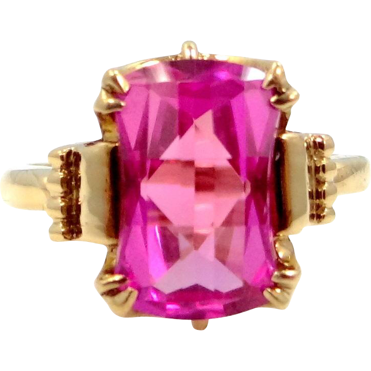 10k Gold Checkboard Pink Ruby Retro Era Ring