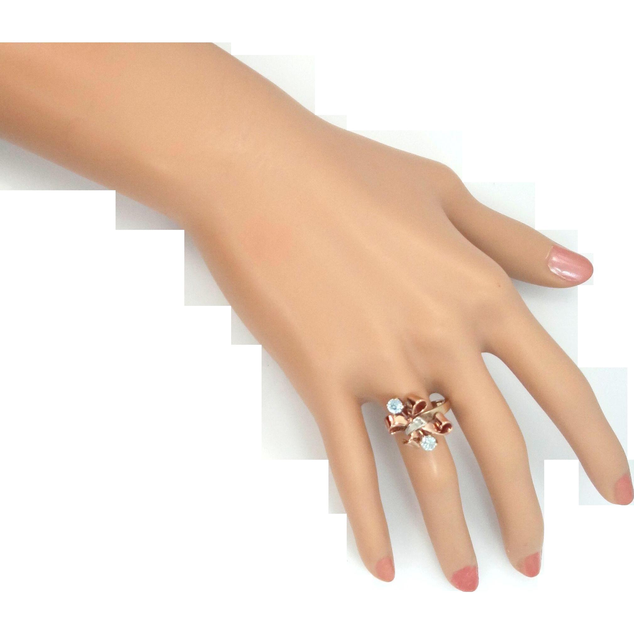 10k Tri Color Gold Aquamarine Retro Era Ring
