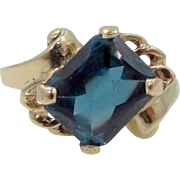 10k Gold Sapphire Spinel Retro Ring