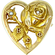 10k Gold Order of the Rose Beta Sigma Phi Seed Pearls Pin / Pendant