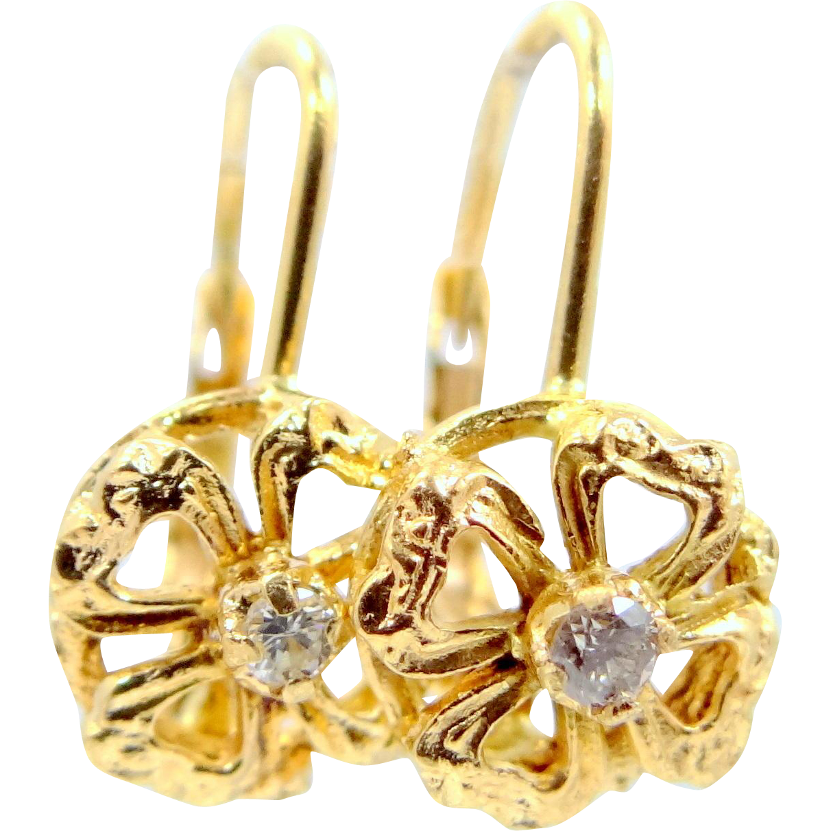 18k Gold Tiny Hearts and Diamonds Lever Back Earrings