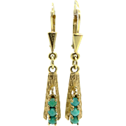 14k Gold Turquoise Dangle Earrings Victorian Revival