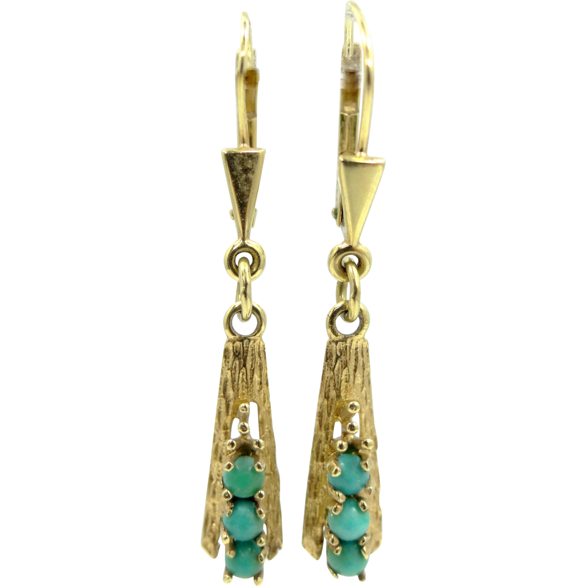 14k Gold Turquoise Dangle Earrings Victorian Style
