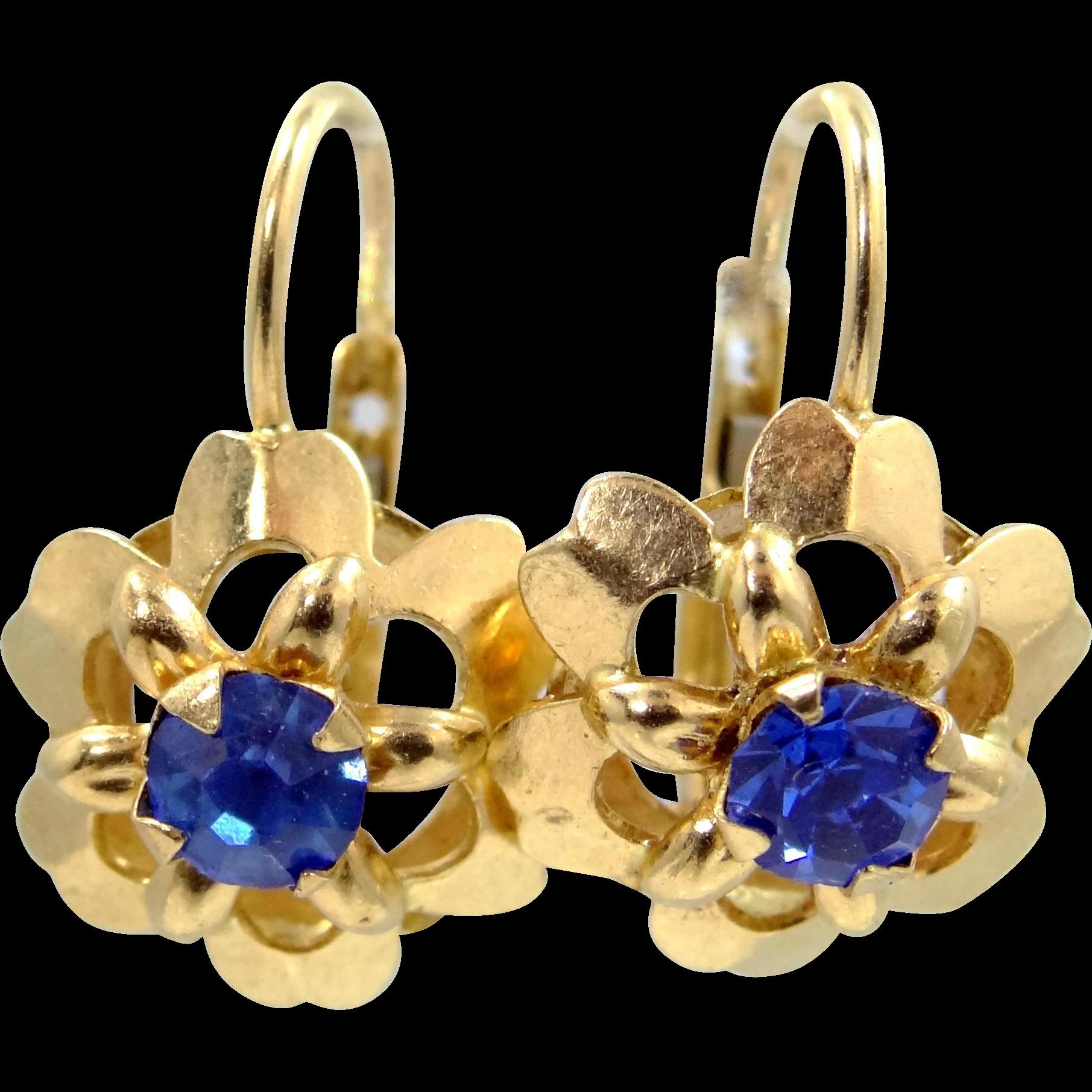 14k Gold Sapphire Blue Paste Lever Back Earrings