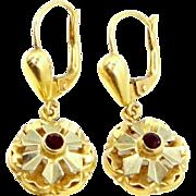 18k Gold and Garnets Lever Back Dangle Earrings