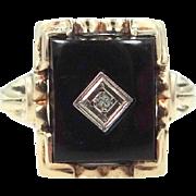 10k Gold Onyx and Diamond Retro Era Lady's Ring