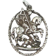 800 Silver St. George and the Dragon Medal Victorian