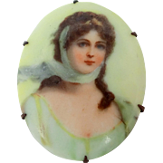 Victorian Hand Painted Porcelain Pin of Pretty Girl