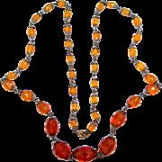 """1930's Topaz Glass 35"""" Long Necklace"""