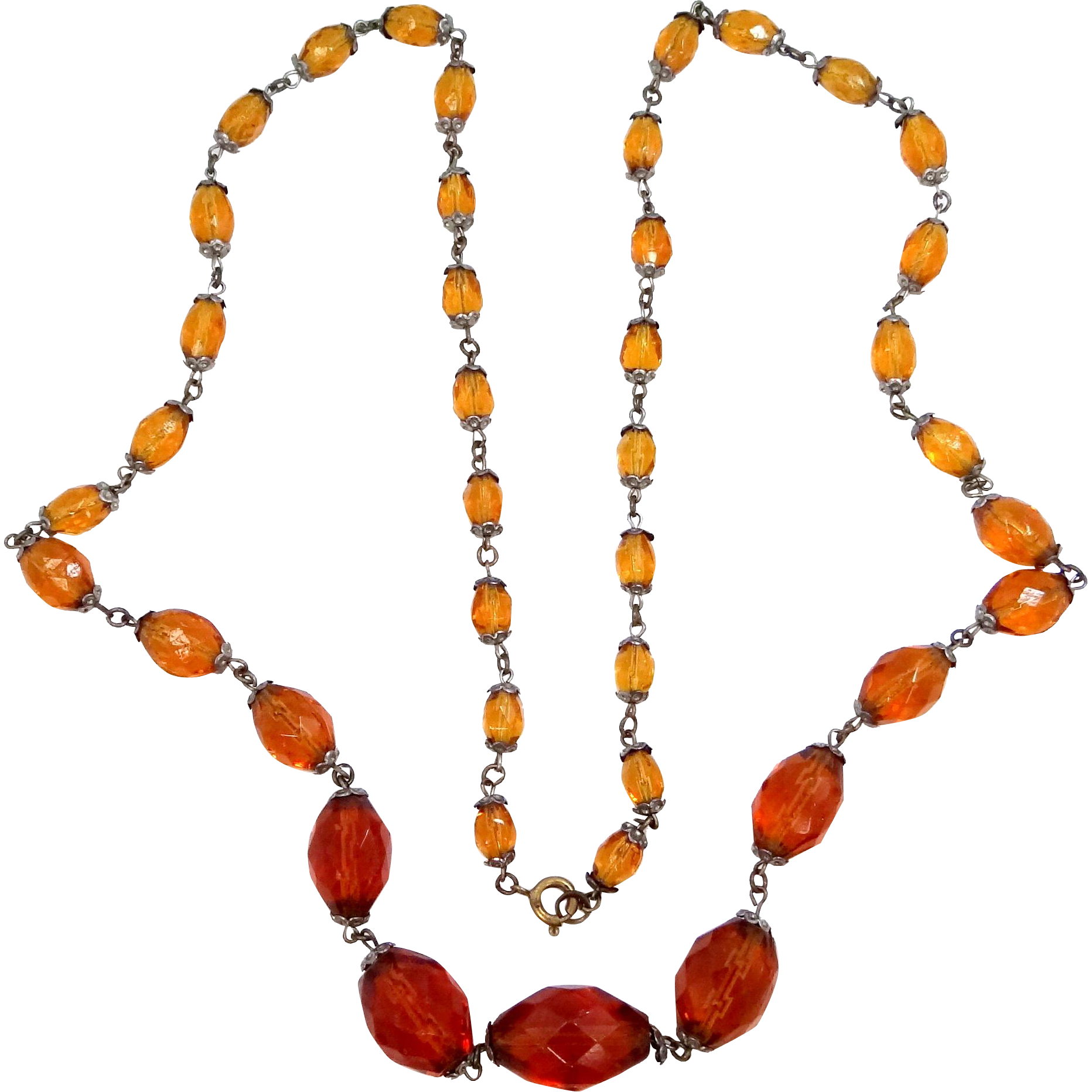 "1930's Topaz Glass 35"" Long Necklace"