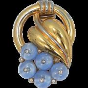1930s Trifari Shoe Button Grapes Pin Clip Fur Clip