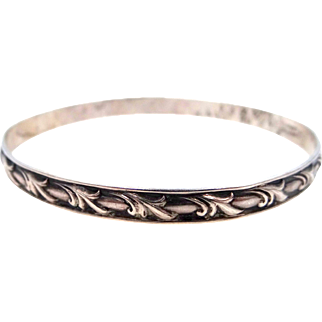Danecraft Sterling Bangle withSwirl Deco Motif and Felch Co. Mark