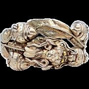 Vintage Sterling Silver Asian Dragon Hinged Bangle Bracelet
