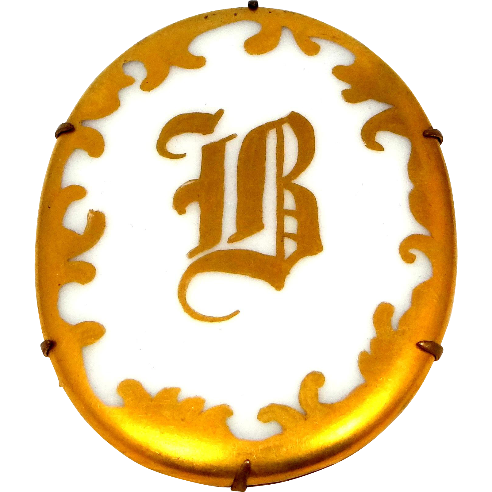 "Large Victorian Porcelain Gold Gilt Letter ""B"" Pin"
