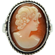 Vintage Sterling Silver and Carved Shell Cameo Ring