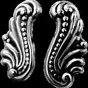 1940's Mexico 800 Silver Screw Back Earrings