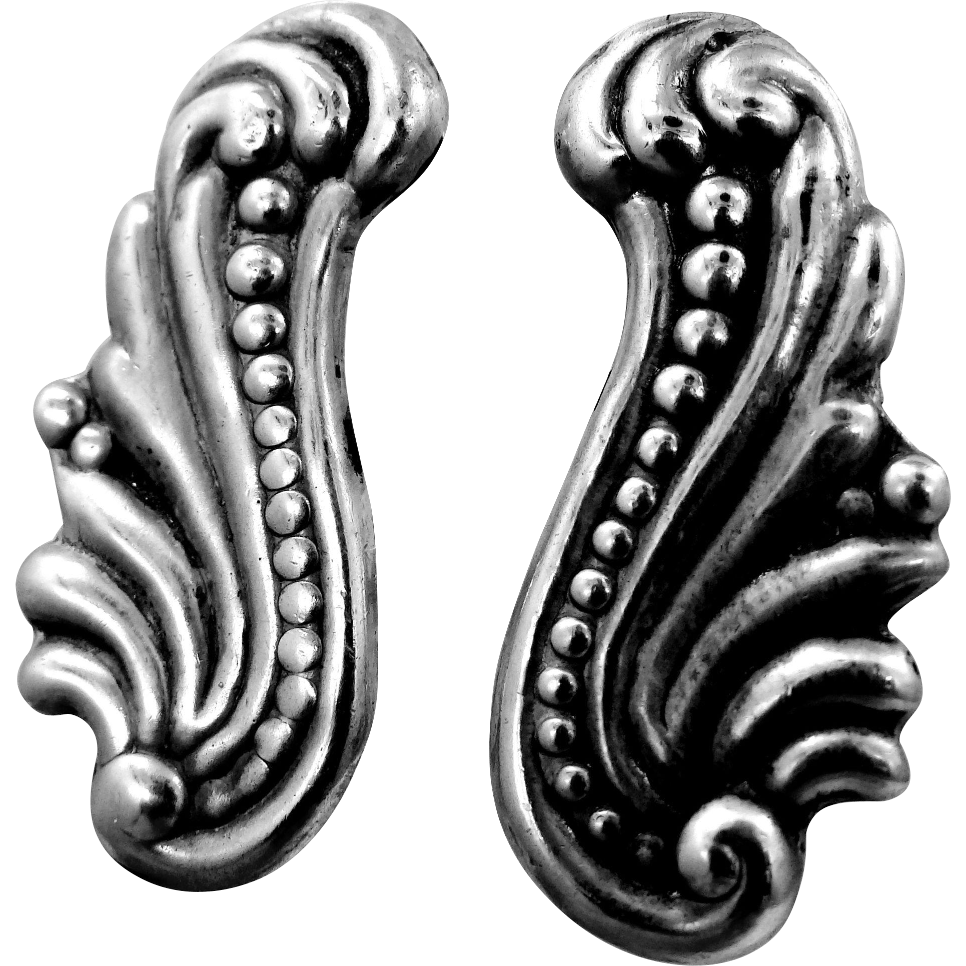 1940's Mexico 800 Silver Screw Back Earrings
