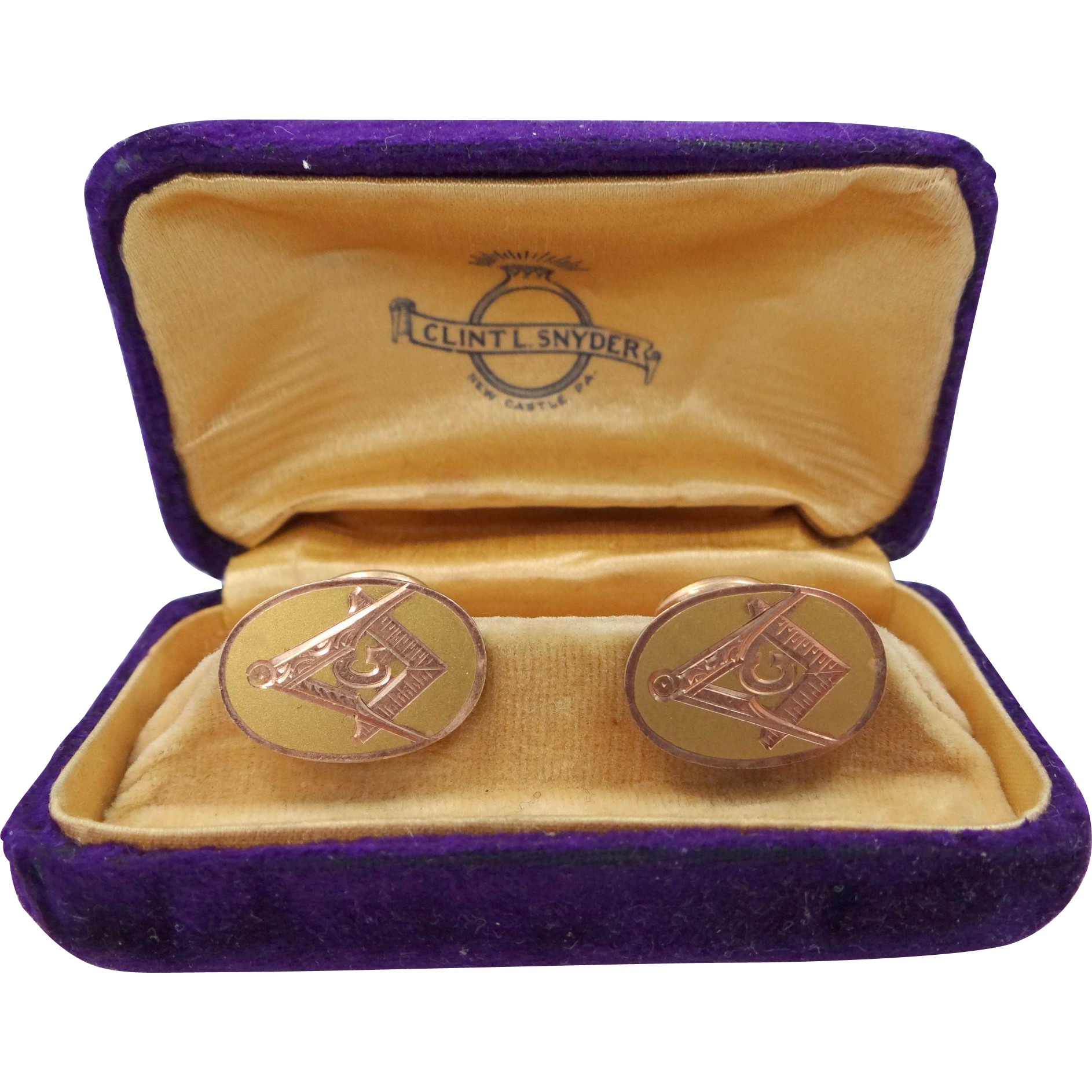 Vintage Masonic Gold Filled Cufflinks with Rose Gold Trim