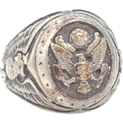 WWII Sterling Silver United States Army Mans Ring Engraved MIZPAH 12-25-44-NR