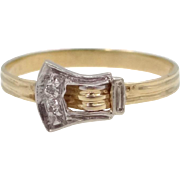 14k White and Yellow Gold Buckle Motif Diamond Ring