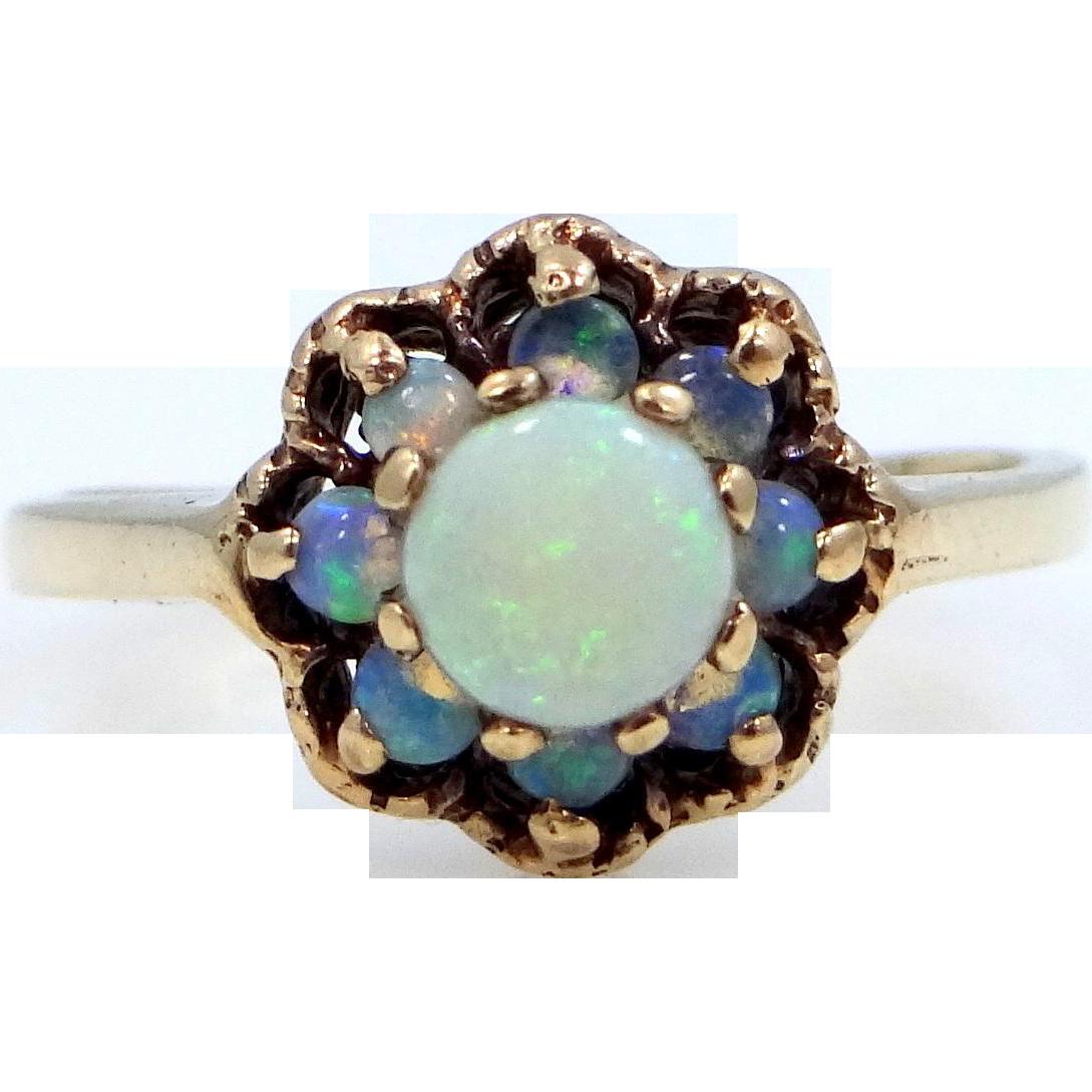 Art Deco Romany 10k Gold Opals Ring