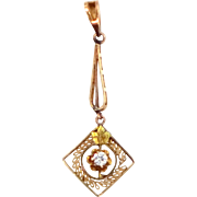 Victorian 14k Gold and Diamond Filigree Lavaliere