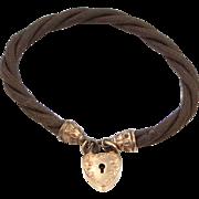 Victorian Woven Horsehair Bracelet with Heart Padlock