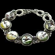 Art Deco Sterling Silver Essex Crystal Hunting, Horse, Spaniel, Retriever, Horseshoes Motif Bracelet
