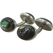 Victorian Sterling Silver and Abalone Barbell Cufflinks Cuff Links