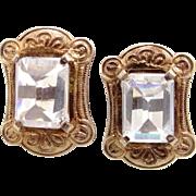 10k-14k Gold Victorian Rock Crystal Earrings