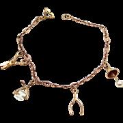 Cute Vintage Child's Charm Bracelet Scissors, Ice Tongs, Wishbone, Lamp