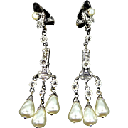 Art Deco Tiny Crystals and Faux Teardrop Pearls Chandelier Earrings