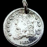 1835 Liberty Cap Half Dime Charm 900 Silver
