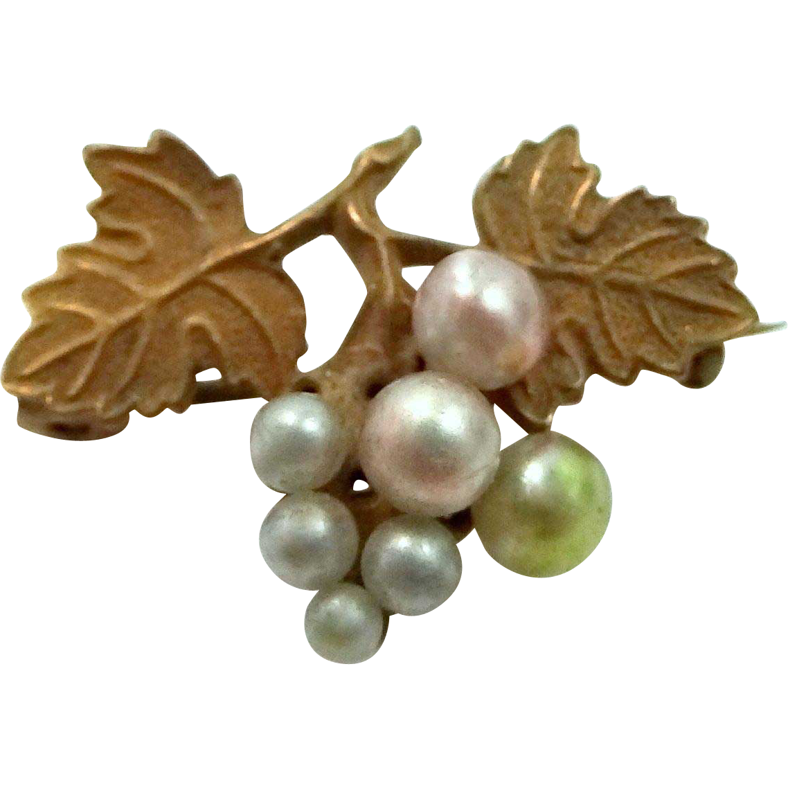Victorian Gilt Leaves and Grape Faux Pearls Pin