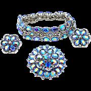 Trifari Demi Parure Blue A/B Crystals Bracelet, Brooch & Earrings