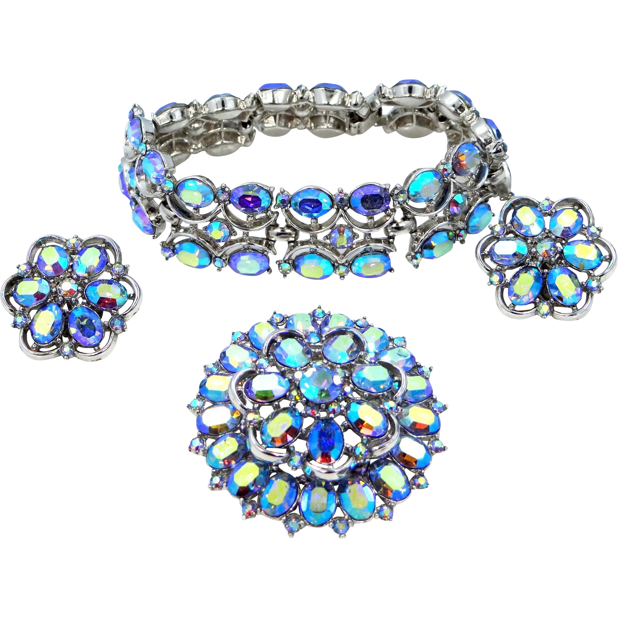 Trifari Demi Parure Blue A/B Crystals Bracelet, Brooch & Earrings